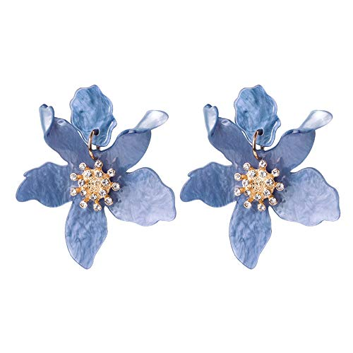 Miweel Bohemian Luxury Oversize Resin Big Flower Earrings For Women Stainless Steel Crystal Jewelry (Dard blue1)