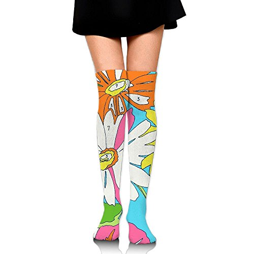 Colorful Flowers Colored Tints Over The Knee Long Socks Tube Thigh-High Sock Stockings For Girls & - Tint Brand Clothing