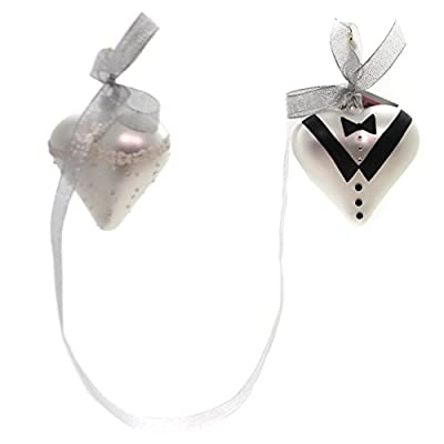 Golden Bell Collection BRIDE AND GROOM HEARTS Ornament Set/2 Wedding Sea003
