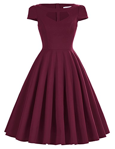 Belle Poque Vintage Retro Swing Dress Wine M