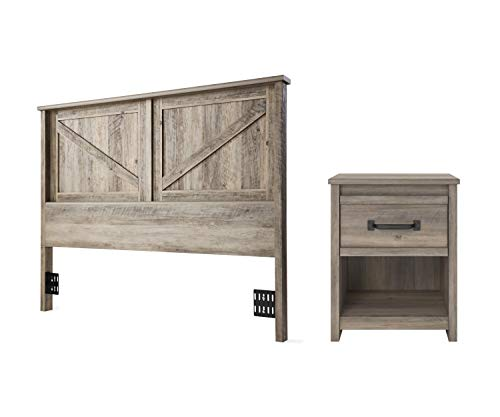 Better Homes & Gardens Modern Farmhouse Headboard, Queen/Rustic Gray Bundle with Better Homes & Gardens Emory Nightstand, Gray Oak from Better Homes & Gardens