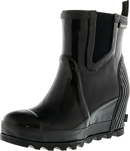 Sorel Women's Joan Rain Wedge Chelsea Gloss Rain Booties, Sea Salt, 7.5 B(M) US by SOREL