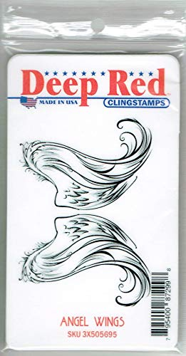 Deep Red Stamps Angel Wings Rubber Stamp ()