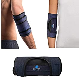 Copper Compression Elbow Immobilizer Brace for Men and Women. Support Cubital Tunnel Syndrome, Ulnar Nerve, Tendonitis, Tennis + Golfers Elbow, Sleeping. Adjustable Arm Splint Stabilizer + Protector