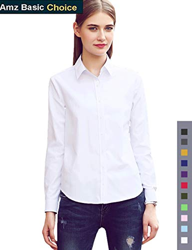 diig Women Dress Shirt - Long Sleeve Cotton Button Down Blouse, White 24 by diig