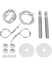 Yctze Stainless Steel Hood Pin Clip Engine Hood Pin Plate Bonnet Lock Clip Kit Car Hood Pin Lock Kit Modified Accessory