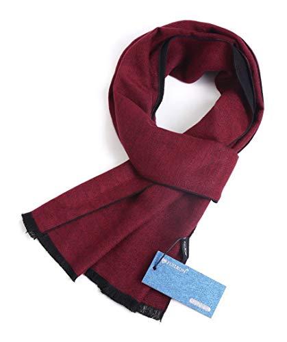 FULLRON Men's Cashmere Scarf Winter Scarves - Winered Black Reversible
