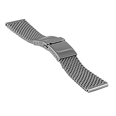 Staib milanaise/mesh Watch Strap Deluxe, Diver Buckle, Length Adjustment, W 24 x 20 mm, H 4.9 mm, 2785-24 by Hermann Staib GmbH