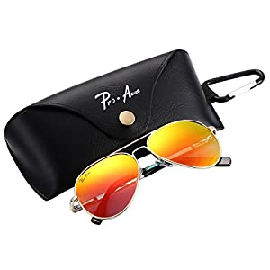 Pro Acme Small Polarized Aviator Sunglasses for Adult Small Face and Junior,52mm (Gold Frame/Red Mirrored Lens)
