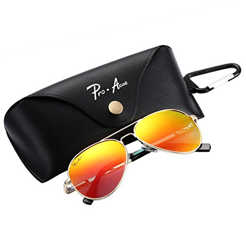 Pro Acme Small Polarized Aviator Sunglasses for Adult Small Face and Junior,52mm (Gold Frame/Red Mirrored Lens) (Red Aviators Mirrored)