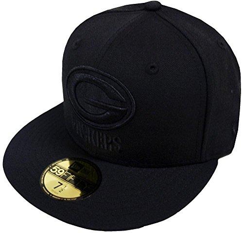New Era NFL Green Bay Packers Men's Black On Black 59Fifty Fitted Cap, 7 1/4, (Green 59fifty Fitted Cap)