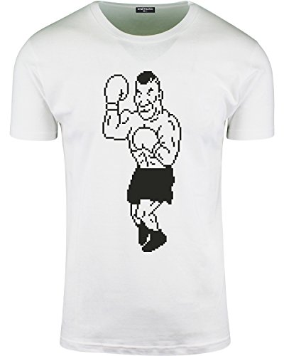 Mens Iron Mike Punch Out Parody T Shirt Boxing Ts Gamer Tee (White, S)