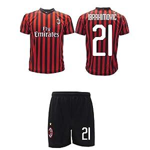 Completo Ibrahimovic Milan Ufficiale 2019 2020 AC Adulto Bambino Ibra Zlatan 21 Maglia + Pantaloncini Ufficiali 41legqzN%2B1L. SS300