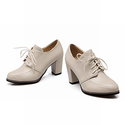 Carolbar Chunky Vintage Fashion Oxfords High Heel Beige up Toe Retro Shoes Lace Pointed Women's rqna8xTwr