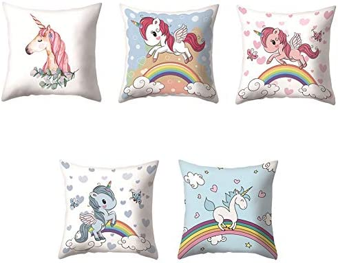 VLUNT 5 Pack Fundas de Cojines para Sofa, Estampados de Unicornio Fundas Cojines Rectangulares 45x45 cm Cushion Cover: Amazon.es: Hogar