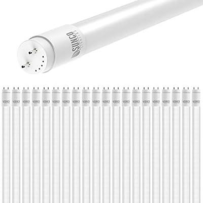 Sunco Lighting 20 Pack 4FT T8 LED Tube, 18W=40W Fluorescent, Frosted Cover, 5000K Daylight, Single Ended Power (SEP), Ballast Bypass, Commercial Grade - UL