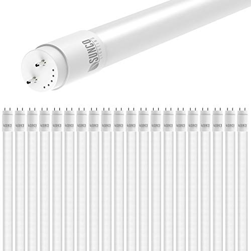 Sunco Lighting 20 Pack 4FT T8 LED Tube, 18W=40W Fluorescent, Frosted Cover, 5000K Daylight, Single Ended Power (SEP), Ballast Bypass, Commercial Grade - UL