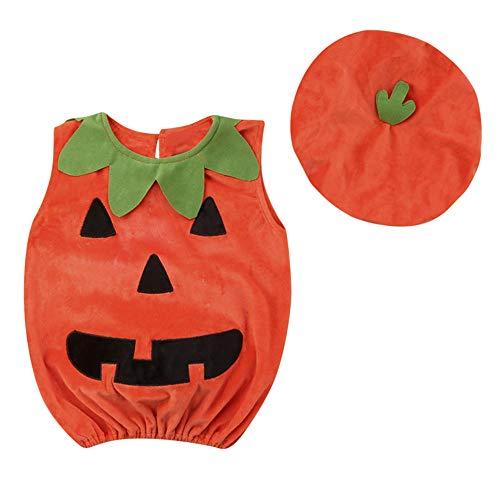 Fiaya Halloween Outfits Newborn Baby Girl Boy Velvet Sleeveless Pumkin Vest +Hat Clothes Set | 12M-3T (Orange, 6-12 Months) for $<!--$6.99-->