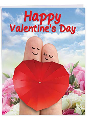 Finger Couple Valentines Day Greeting Card w/ Envelope Jumbo 8.5 x 11 Inch - Index and Middle Fingers - Finger Puppets - Roses, Sky, Heart Stationery for Personalized Love Letter ()