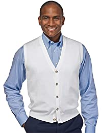 Men's Pima Cotton Solid Button Front Cardigan Vest