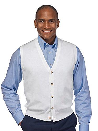 Pima Cotton Vest - Paul Fredrick Men's Pima Cotton Button Front Cardigan Vest White Large