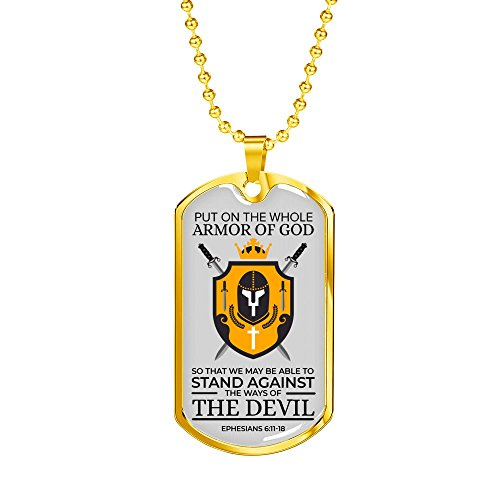 Express Your Love Gifts Ephesians 6:11-18 Armor of God Heart Stainless Steel 18k Gold Military Dog Tag Necklace w 24