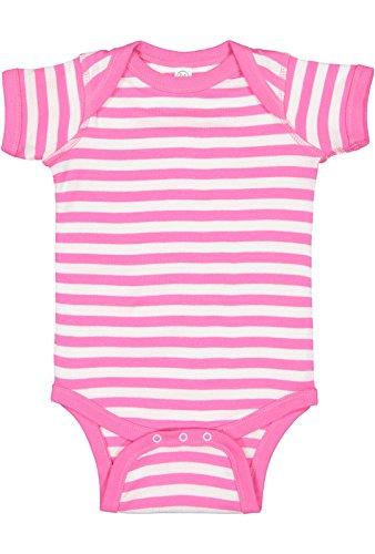Rabbit Skins Infant 100% Cotton Baby Rib Lap Shoulder Short Sleeve Bodysuit (Raspberry/White Stripe, 24 - Pink Stripe Apparel