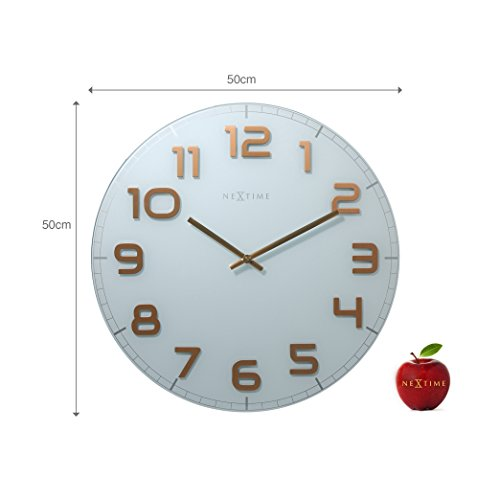 """Unek Goods NeXtime Classy Wall Clock, 19.7"""" Diameter, Large, Round, White with Big Shiny Copper Numbers, Glass, Decorative, Battery Operated"""