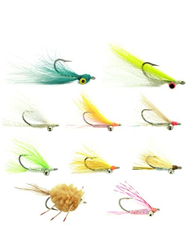 (The Fly Fishing Place Bonefish Flats Fly Fishing Flies Assortment - Collection of 10 Flies for Keys Bahamas or Belize - Saltwater Bonefish Permit Mullet Flies)