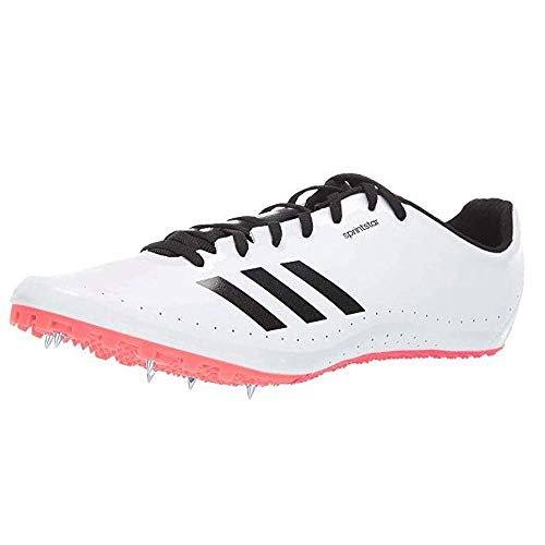 adidas Men's Sprintstar, White/Black/Shock red, 12 M US (Best Track Shoes For Mid Distance)
