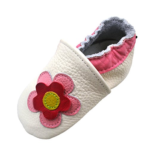 iEvolve Baby Shoes Flowers Baby Toddler Soft Sole Prewalker Baby First Walking Shoes Crib Shoes Baby Moccasins(White Flowers, 12-18 Months)