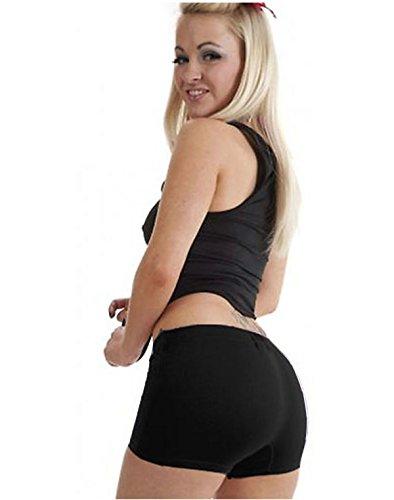 Donna Cartamodello Lucido Vestiti 14 8 Da Black Nuovo Elasticizzato Fancy Pantaloncini Ventaglio Tinta Nero Sexy Per Unita WU8PHF8Tn