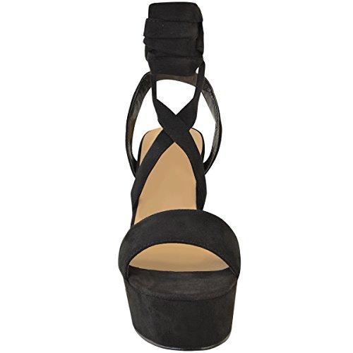 Mode Assoiffée Womens Plate-forme Dété Haut Talon Sandales Strappy Partie Chunky Chaussures Taille Noir Faux Daim
