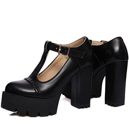 Ankle Vintage Platform Uwabaki KingRover Black Buckle Oxfords Strap Shoes Women's Leather t5nwRq