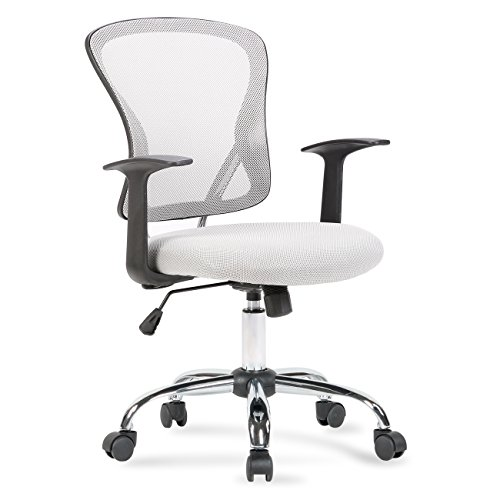 Mid Back Grey Mesh - Belleze Mesh Back Seat Office Chair Desk Computer Lumbar Support Manager Computer Ergonomic, Gray