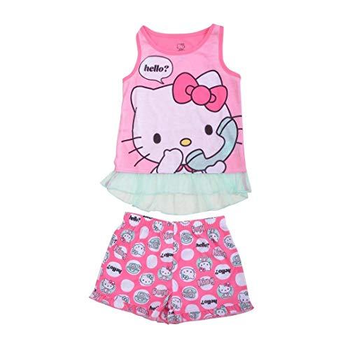 Hello Kitty Girls' Big 2pc Sleepwear Short Set, Pink, L]()