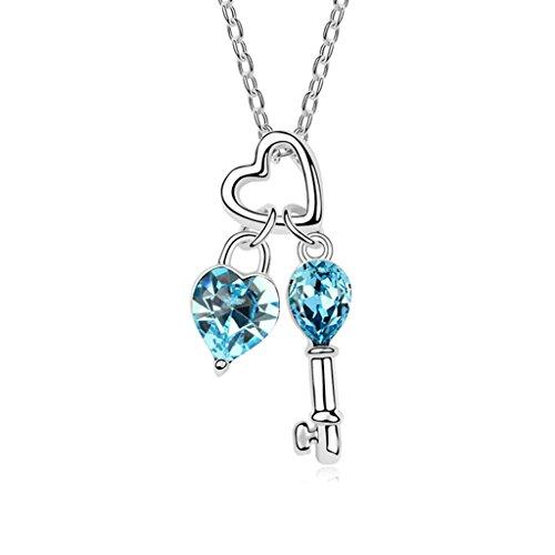 Necklace Lock Heart Rhinestone (Daesar Gold Plated Women's Heart Lock Key Necklace Rhinestone CZ Pendant Necklace)