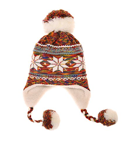 Dosoni Women Girl Winter Hats Knit Soft Warm Earflap Hood Cozy Large Snowflake Beani (Orange) (Earflap Womens)