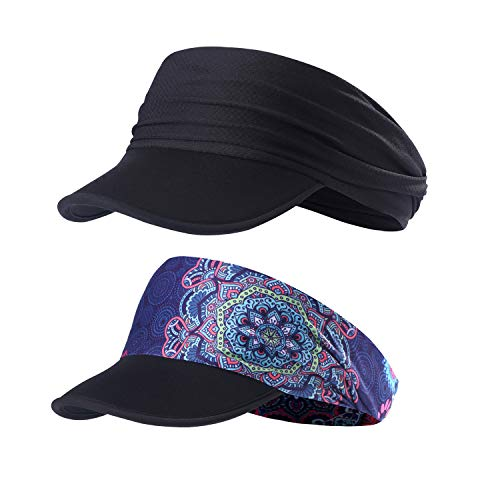 Sun Visors for Women - Yoga Headband Outdoor Peaked Golf Cap Headwear Visor Hat Race Gear UV Protection (QL-EV-20&23)