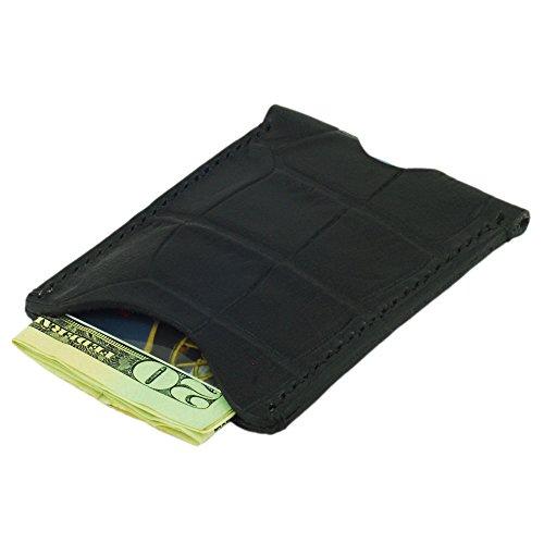 Leather Credit Card Holder, Minimalist Wallet, Crocodile Grain Leather, Black