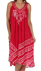Sakkas B600 Batik Stripe Sleeveless Caftan Dress - Red - One Size