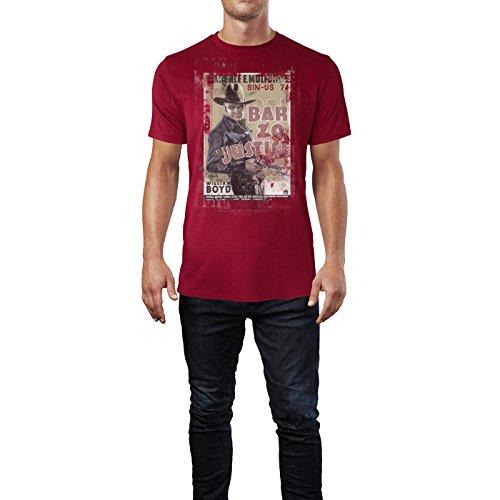 SINUS ART® Justice with William Boyd Herren T-Shirts stilvolles dunkelrotes Cooles Fun Shirt mit tollen Aufdruck