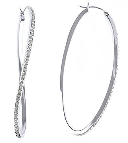 Cubic Zirconia Wave Hoop Earrings In 14K White Gold Over Sterling Silver