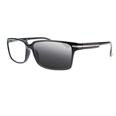 d865424b5b Black Mens Frame Classic Bifocal Transition Photochromic Reading Glasses  Sun Readers (Black