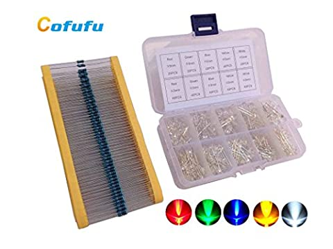 Cofufu 3mm and 5mm LED Light Emitting Diodes (Assorted Clear) 5 Colors, 300 LEDs, Free 300 - 3 Color Led