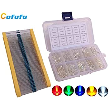 Cofufu 3mm and 5mm LED Light Emitting Diodes (Assorted Clear) 5 Colors, 300 LEDs, Free 300 Resistors
