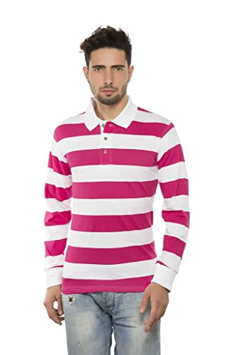 Clifton Mens Bold Stripes Full Sleeve Collar Polo T-Shirt-Magenta-M