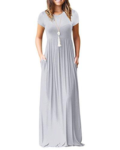 c4dc3745ba Galleon - Kidsform Women s Maxi Dress Short Sleeve Loose Plain Solid Casual  Long Dresses Kaftan With Pockets Grey L