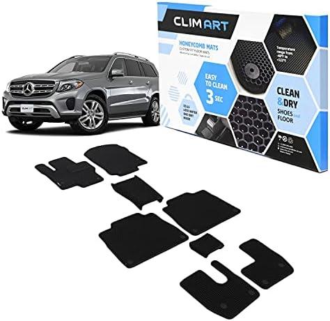 CLIM ART Honeycomb Custom Fit Floor Mats for Mercedes GLS 2020-2021, 1&2&3 Row, Car Mats Floor Liner, All-Weather, Car Accessories Man & Woman, Black/Black – FL011819114
