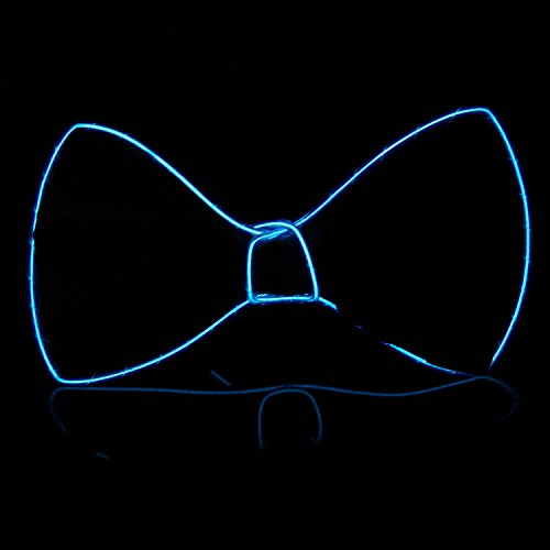 Xcellent Global El Wire Light Up Black Bow Tie Light Party Decorations Party Lights for Halloween Christmas, Blue LD128B - El Wire Costume Amazon